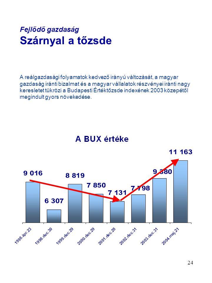 24 Fejlődő gazdaság Szárnyal a tőzsde A reálgazdasági folyamatok kedvező irányú változását, a magyar gazdaság iránti bizalmat és a magyar vállalatok részvényei iránti nagy keresletet tükrözi a Budapesti Értéktőzsde indexének 2003 közepétől megindult gyors növekedése.