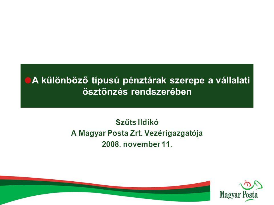  A különböző típusú pénztárak szerepe a vállalati ösztönzés rendszerében Szűts Ildikó A Magyar Posta Zrt. Vezérigazgatója 2008. november 11.
