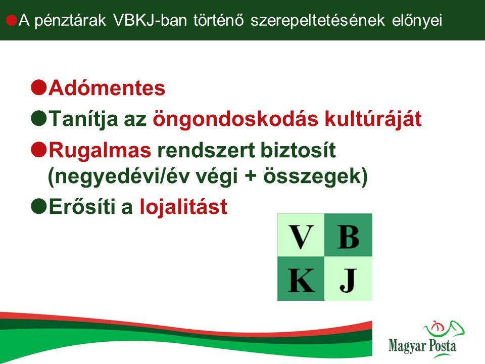  A pénztárak VBKJ-ban történő szerepeltetésének előnyei  Adómentes  Tanítja az öngondoskodás kultúráját  Rugalmas rendszert biztosít (negyedévi/év
