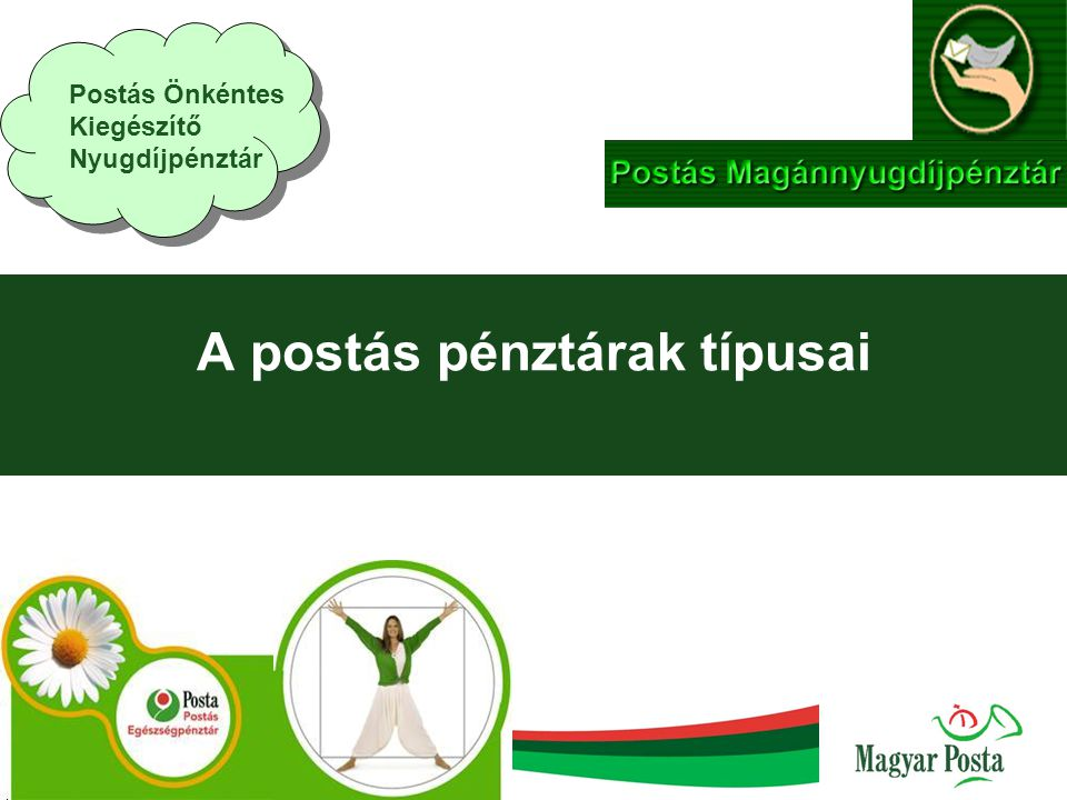  Postás Pénztárak megalapítása A Magyar Posta szociálpolitikai célkitűzése munkáltatói számára az öngondoskodás, a korszerű nyugdíjrendszerhez való csatlakozás lehetőségének megteremtése.