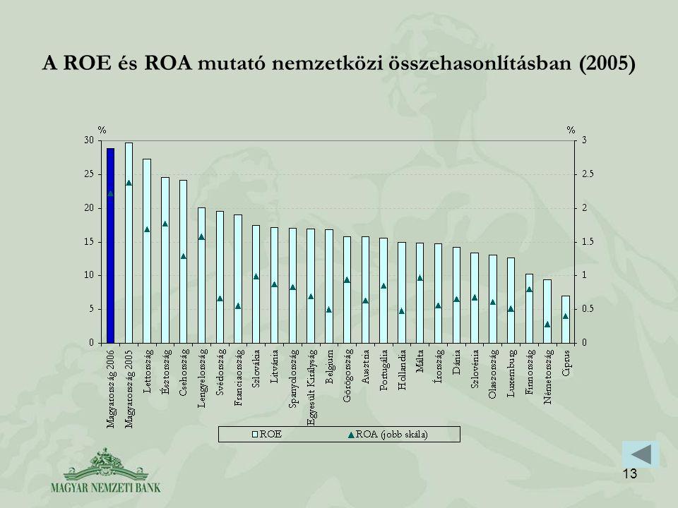 13 A ROE és ROA mutató nemzetközi összehasonlításban (2005)