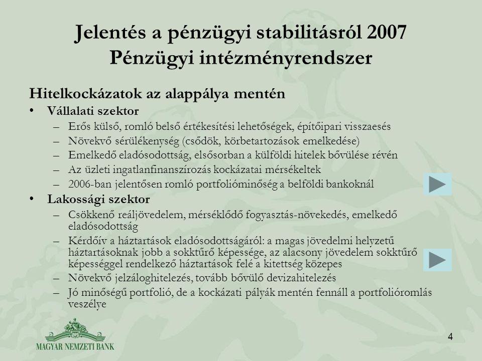 5 Jelentés a pénzügyi stabilitásról 2007 Pénzügyi intézményrendszer Kockázati pályák: 1.