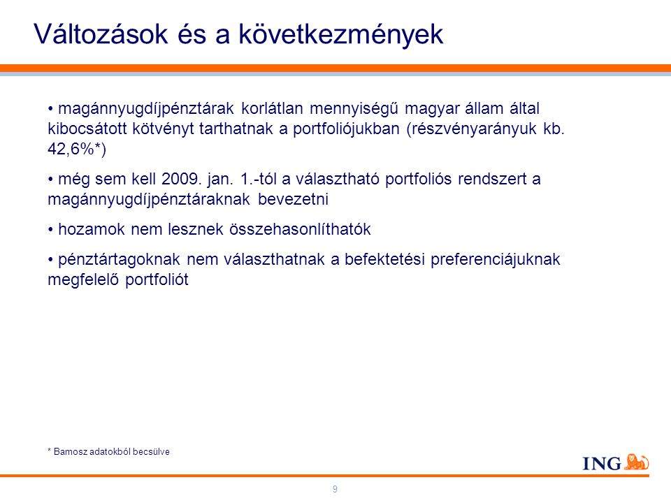Do not put content on the brand signature area Orange RGB= 255,102,000 Light blue RGB= 180,195,225 Dark blue RGB= 000,000,102 Grey RGB= 150,150,150 ING colour balance Guideline www.ing-presentations.intranet 9 Változások és a következmények magánnyugdíjpénztárak korlátlan mennyiségű magyar állam által kibocsátott kötvényt tarthatnak a portfoliójukban (részvényarányuk kb.