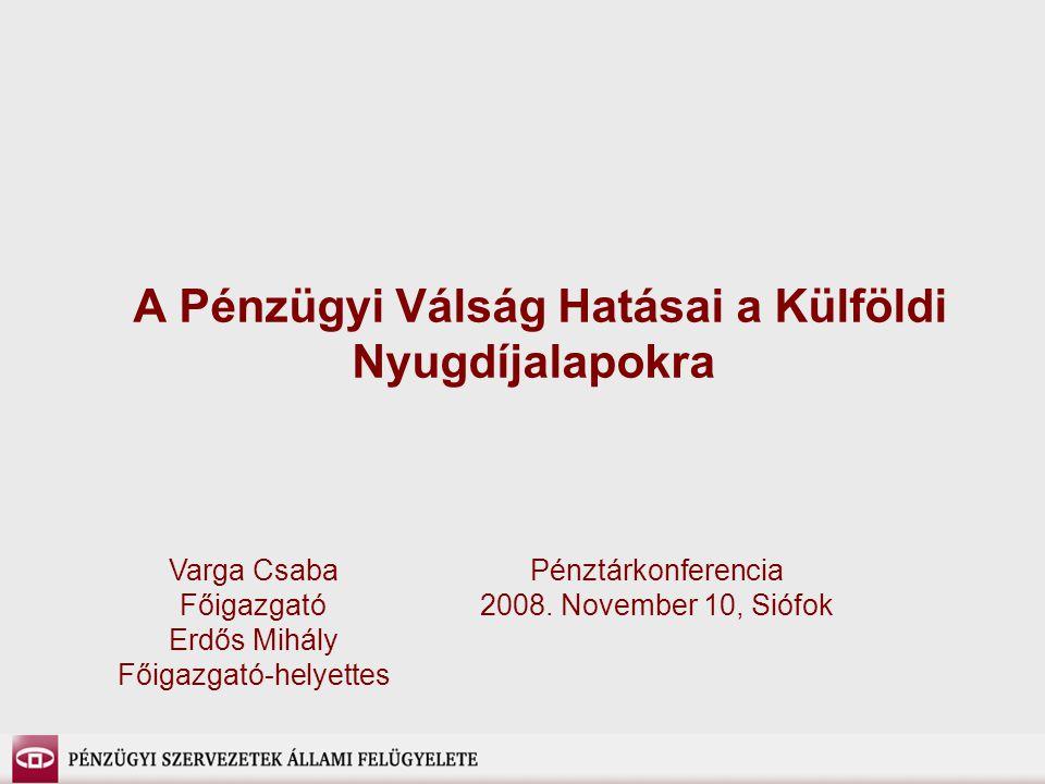 A Pénzügyi Válság Hatásai a Külföldi Nyugdíjalapokra Pénztárkonferencia 2008. November 10, Siófok Varga Csaba Főigazgató Erdős Mihály Főigazgató-helye