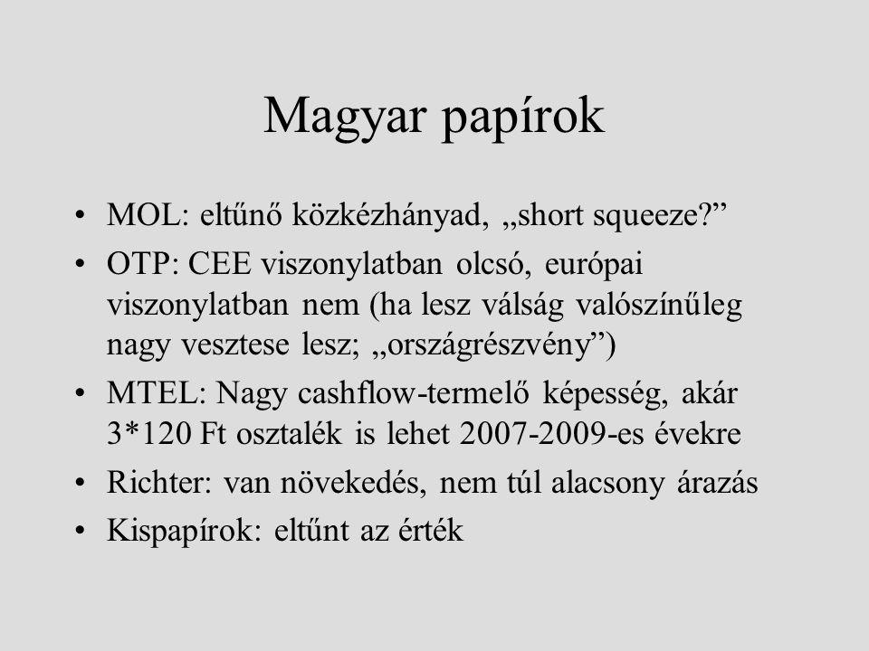 """Magyar papírok MOL: eltűnő közkézhányad, """"short squeeze?"""" OTP: CEE viszonylatban olcsó, európai viszonylatban nem (ha lesz válság valószínűleg nagy ve"""