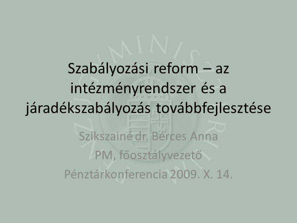 Szabályozási reform – az intézményrendszer és a járadékszabályozás továbbfejlesztése Szikszainé dr.