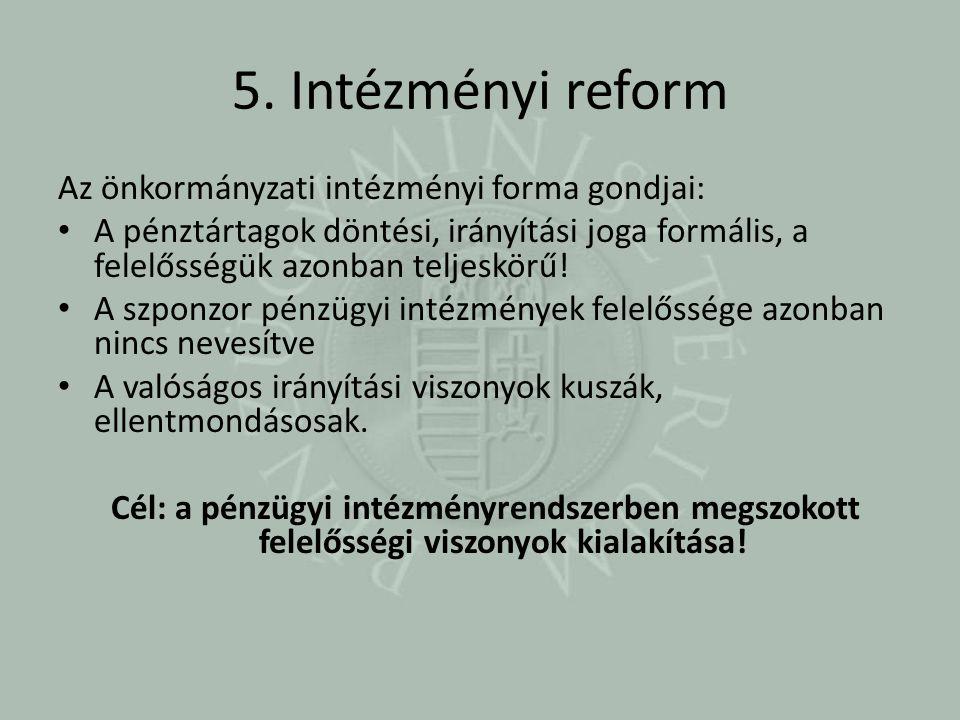 5. Intézményi reform Az önkormányzati intézményi forma gondjai: A pénztártagok döntési, irányítási joga formális, a felelősségük azonban teljeskörű! A