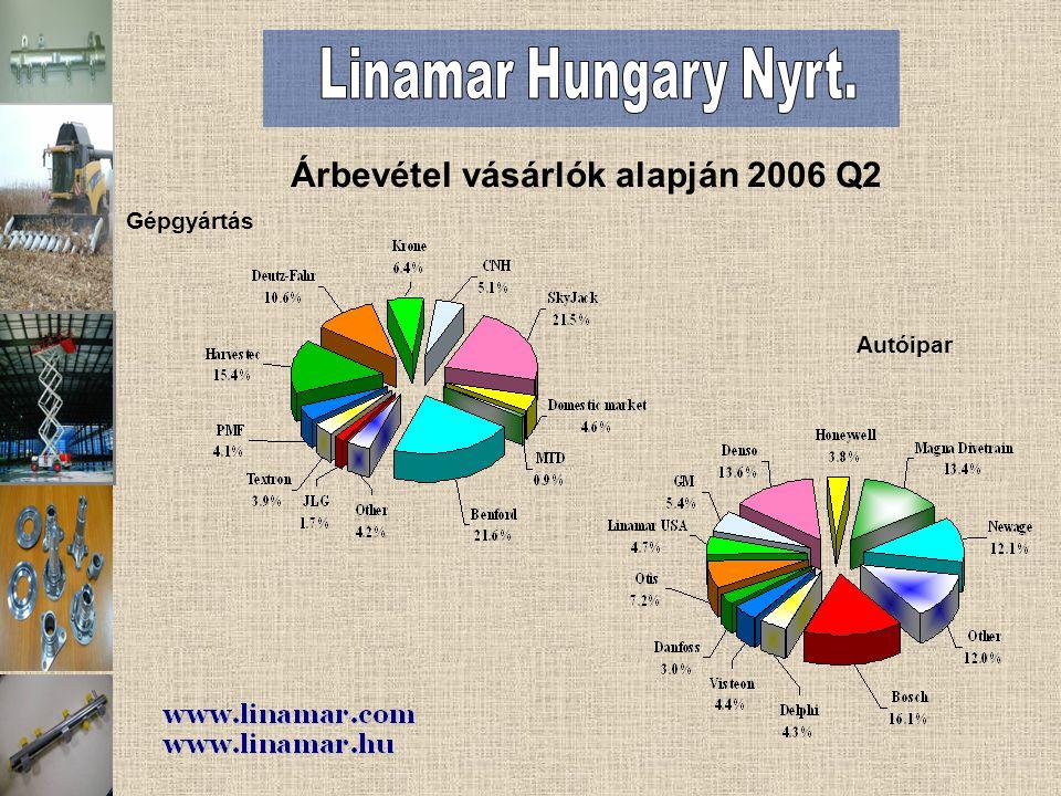 Gépgyártás Árbevétel vásárlók alapján 2006 Q2