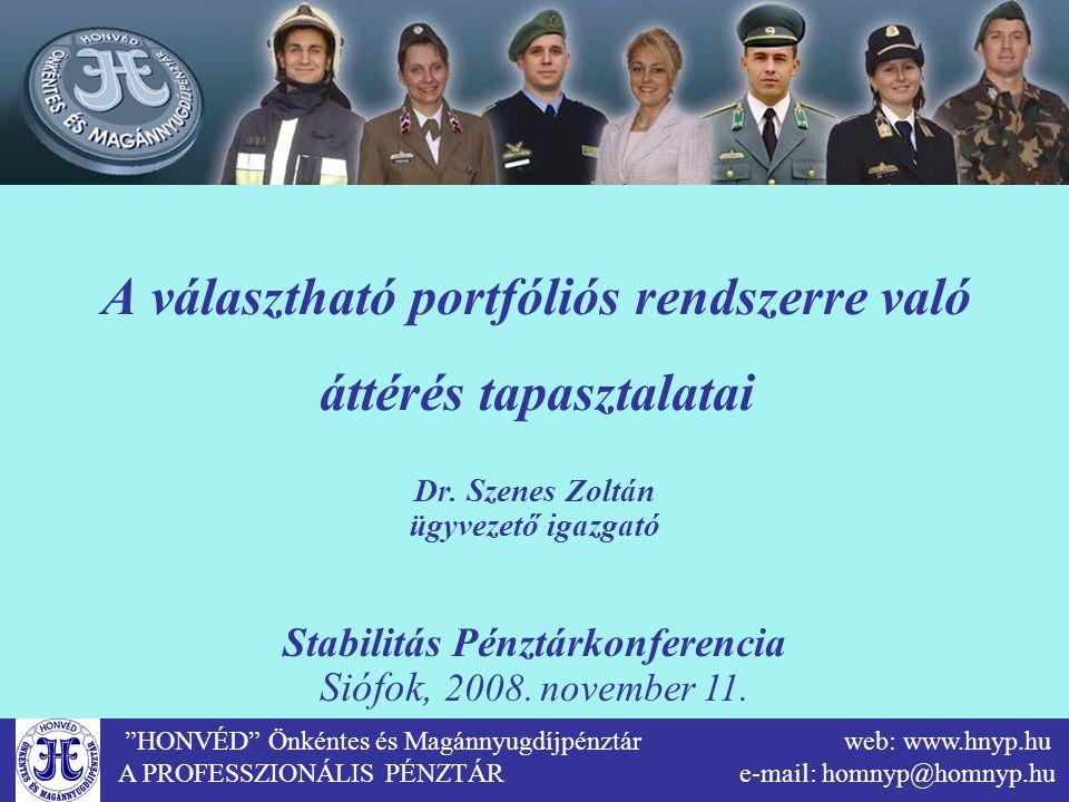 """""""HONVÉD"""" Önkéntes és Magánnyugdíjpénztár web: www.hnyp.hu A PROFESSZIONÁLIS PÉNZTÁR e-mail: homnyp@homnyp.hu A választható portfóliós rendszerre való"""