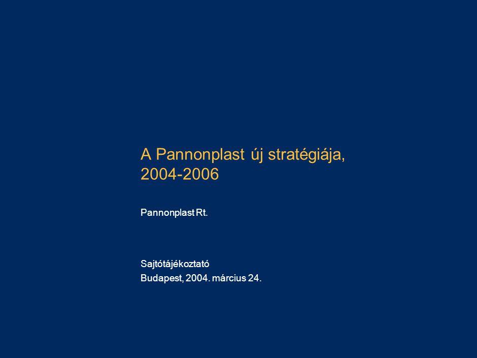 A Pannonplast új stratégiája, 2004-2006 Pannonplast Rt. Sajtótájékoztató Budapest, 2004. március 24.