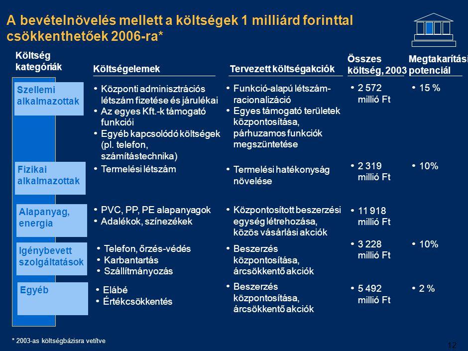12 A bevételnövelés mellett a költségek 1 milliárd forinttal csökkenthetőek 2006-ra* Költségelemek Központi adminisztrációs létszám fizetése és járulé