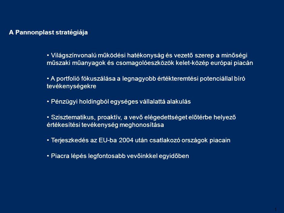 1 Világszínvonalú működési hatékonyság és vezető szerep a minőségi műszaki műanyagok és csomagolóeszközök kelet-közép európai piacán A portfolió fókus