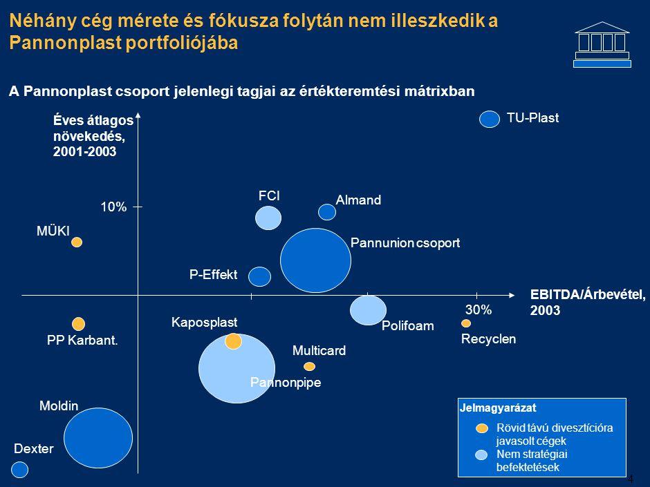 4 Néhány cég mérete és fókusza folytán nem illeszkedik a Pannonplast portfoliójába EBITDA/Árbevétel, 2003 TU-Plast 30% P-Effekt FCI Polifoam Pannunion