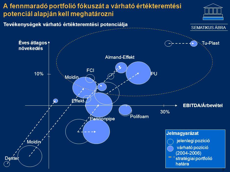 5 A fennmaradó portfolió fókuszát a várható értékteremtési potenciál alapján kell meghatározni EBITDA/Árbevétel Tu-Plast 30% Effekt FCI Polifoam Moldi