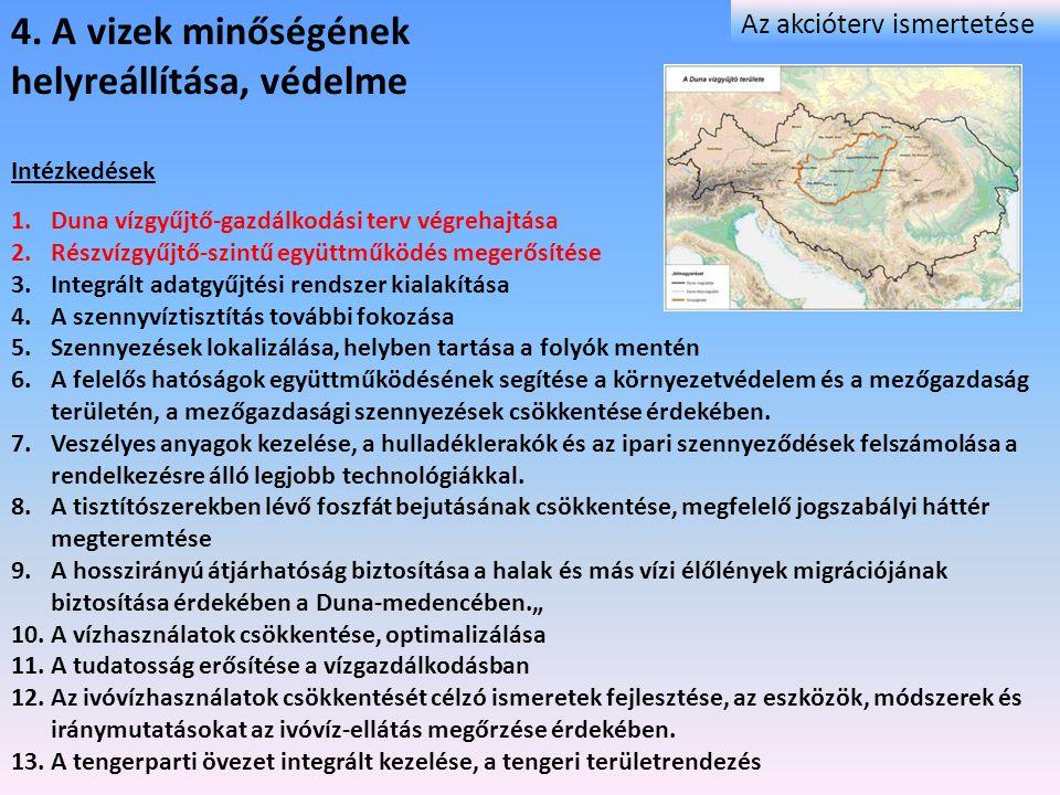 4. A vizek minőségének helyreállítása, védelme Intézkedések 1.Duna vízgyűjtő-gazdálkodási terv végrehajtása 2.Részvízgyűjtő-szintű együttműködés meger