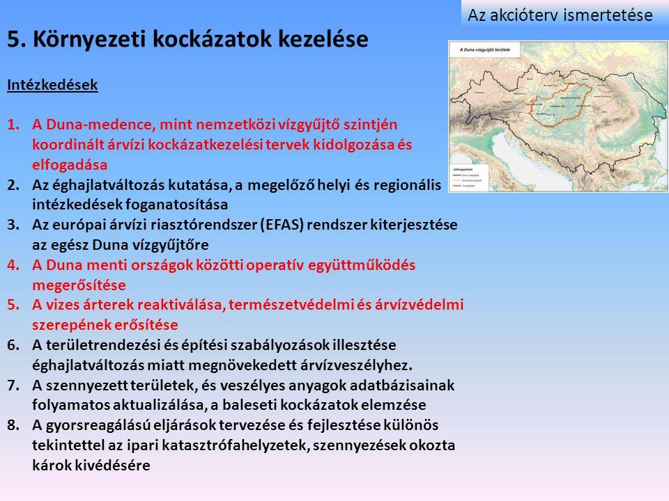 5. Környezeti kockázatok kezelése Intézkedések 1.A Duna-medence, mint nemzetközi vízgyűjtő szintjén koordinált árvízi kockázatkezelési tervek kidolgoz