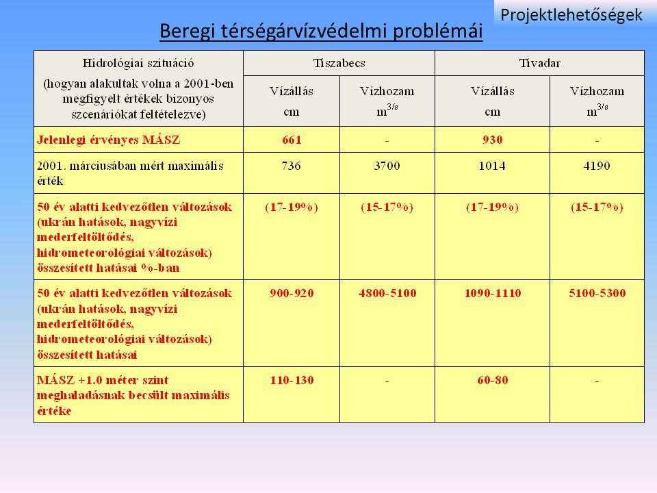 Beregi térségárvízvédelmi problémái Projektlehetőségek