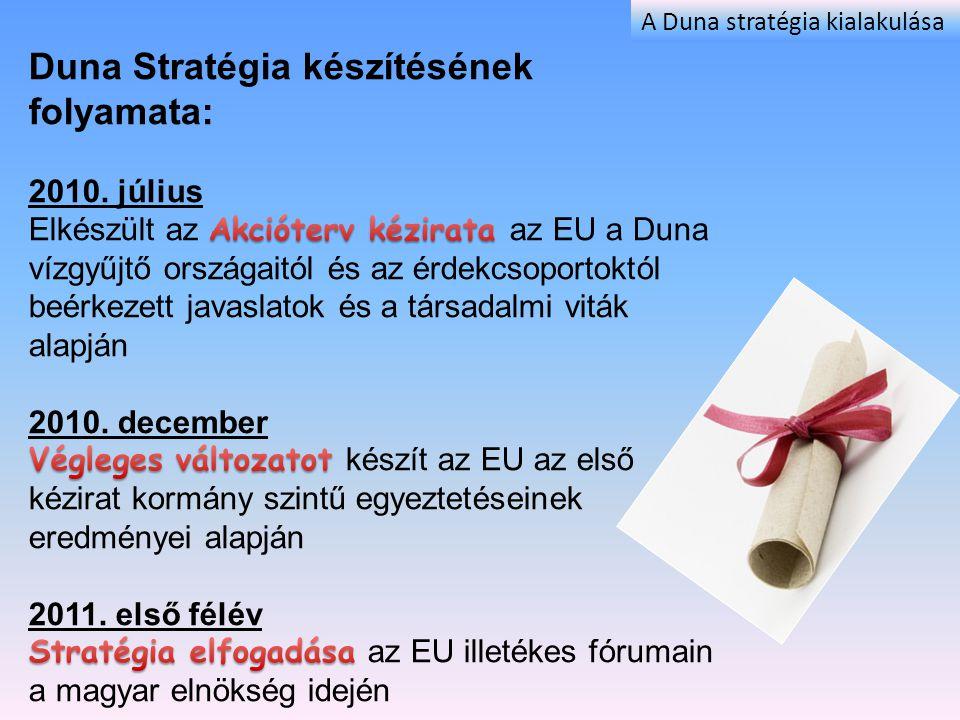 EU Duna Régió Stratégia Kormánybiztosi Titkárság Vezeti a tárgyalásokat az EU-val és a Duna vízgyűjtő országaival A jelenlegi EU szintű és kormányközi egyeztetés alapja: EU Bizottság, Európai Duna Régió Stratégia (EDRS) Akcióterv, 2010.