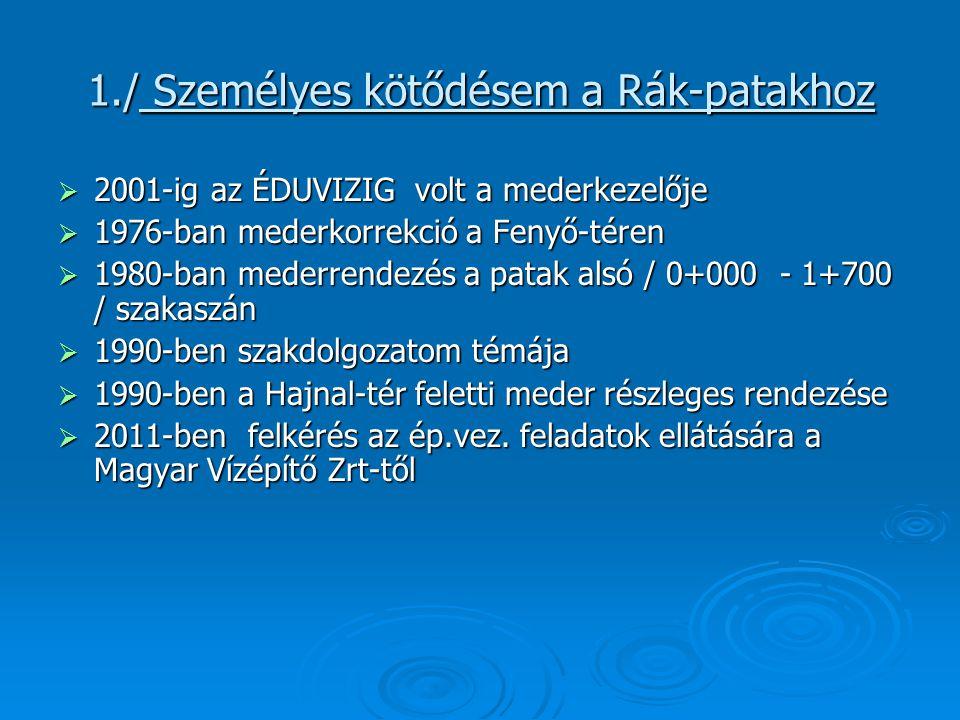 2./ A tervezés körülményei  Az Ökopartner Mérnök Iroda / Hámori Gábor / 2002-ben elkészítette a vízjogi lét.
