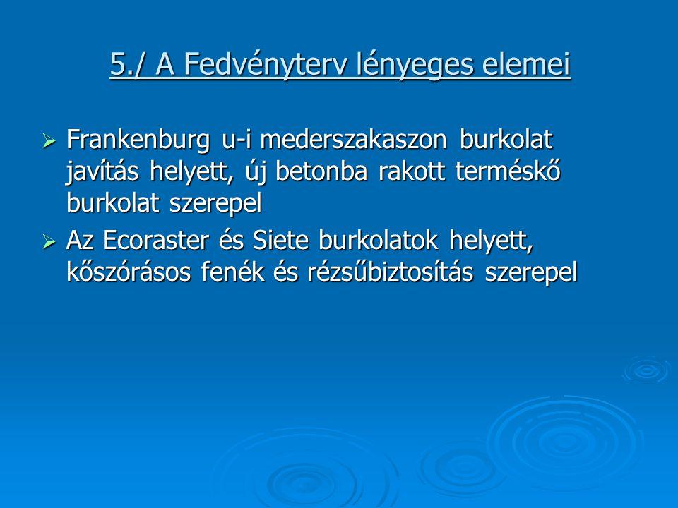 5./ A Fedvényterv lényeges elemei  Frankenburg u-i mederszakaszon burkolat javítás helyett, új betonba rakott terméskő burkolat szerepel  Az Ecoraster és Siete burkolatok helyett, kőszórásos fenék és rézsűbiztosítás szerepel