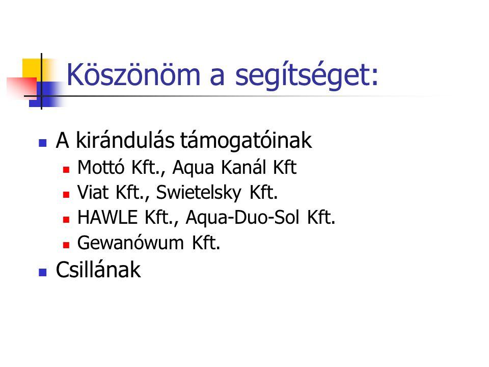 Köszönöm a segítséget: A kirándulás támogatóinak Mottó Kft., Aqua Kanál Kft Viat Kft., Swietelsky Kft.