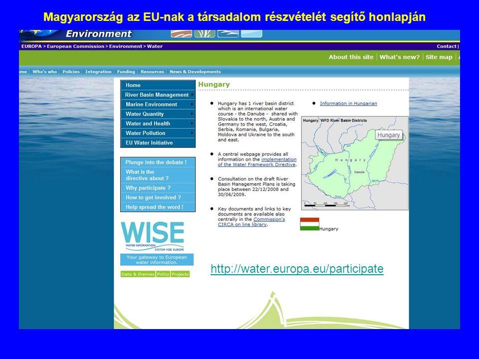 Magyarország az EU-nak a társadalom részvételét segítő honlapján http://water.europa.eu/participate