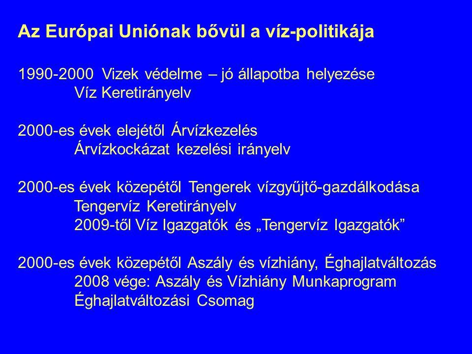 Az Európai Uniónak bővül a víz-politikája 1990-2000 Vizek védelme – jó állapotba helyezése Víz Keretirányelv 2000-es évek elejétől Árvízkezelés Árvízk