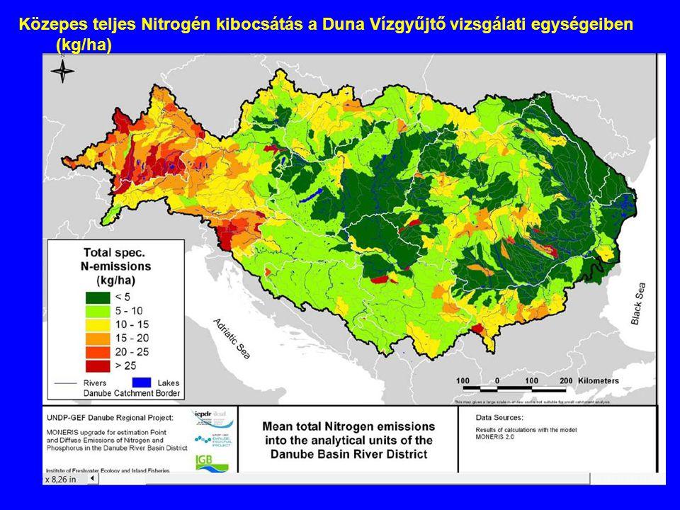 Közepes teljes Nitrogén kibocsátás a Duna Vízgyűjtő vizsgálati egységeiben (kg/ha)