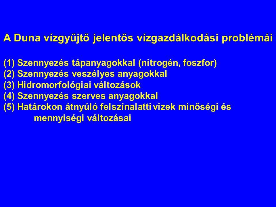 A Duna vízgyűjtő jelentős vízgazdálkodási problémái (1) Szennyezés tápanyagokkal (nitrogén, foszfor) (2) Szennyezés veszélyes anyagokkal (3) Hidromorf