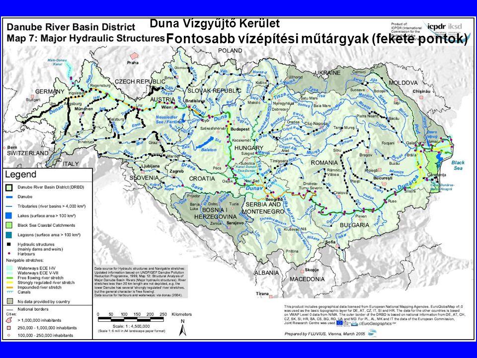 Duna Vízgyűjtő Kerület Fontosabb vízépítési műtárgyak (fekete pontok)
