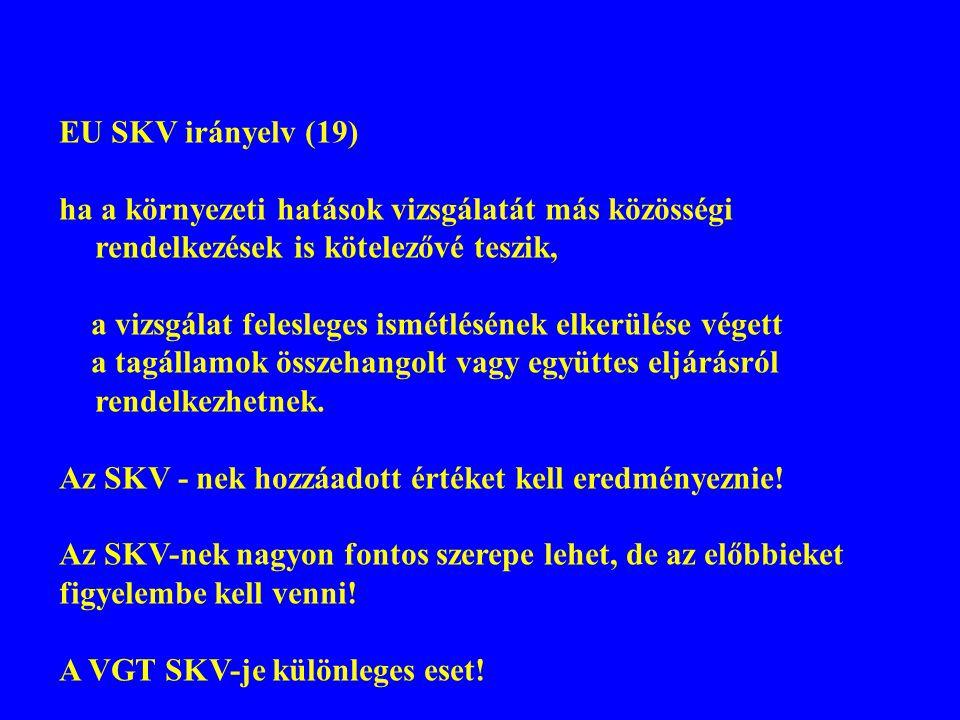 EU SKV irányelv (19) ha a környezeti hatások vizsgálatát más közösségi rendelkezések is kötelezővé teszik, a vizsgálat felesleges ismétlésének elkerül