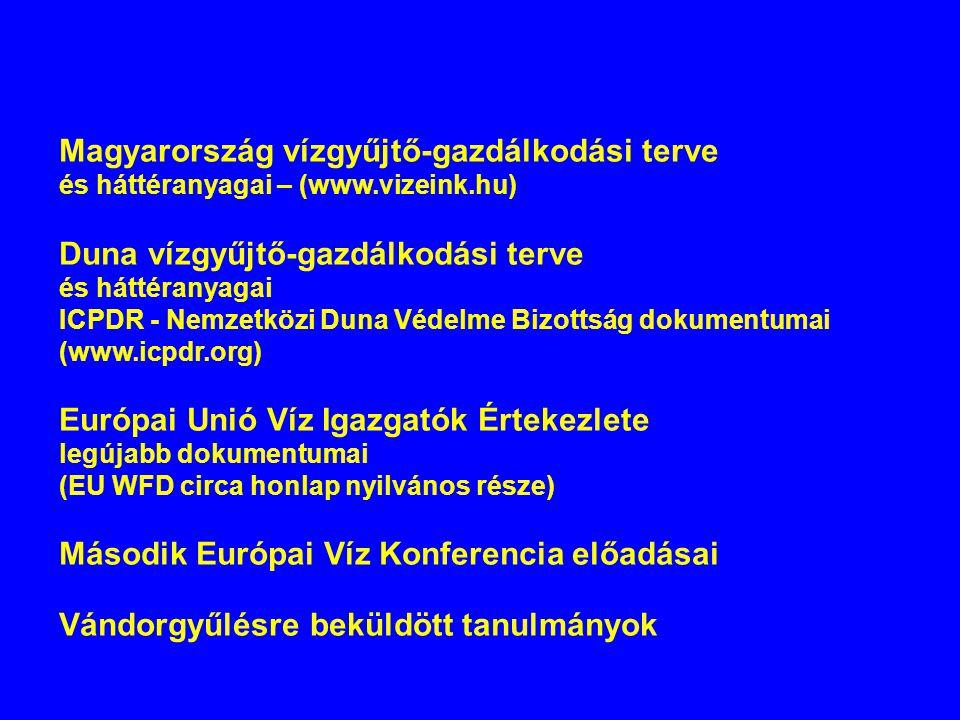 Magyarország vízgyűjtő-gazdálkodási terve és háttéranyagai – (www.vizeink.hu) Duna vízgyűjtő-gazdálkodási terve és háttéranyagai ICPDR - Nemzetközi Du