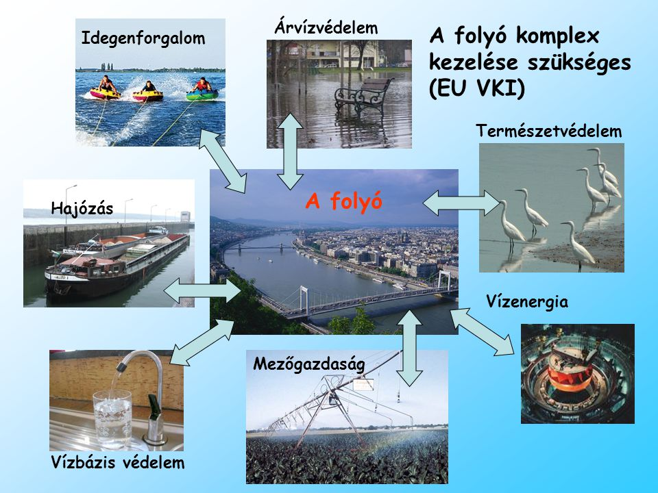 Idegenforgalom A folyó Hajózás Mezőgazdaság Természetvédelem Vízbázis védelem Árvízvédelem Vízenergia A folyó komplex kezelése szükséges (EU VKI)