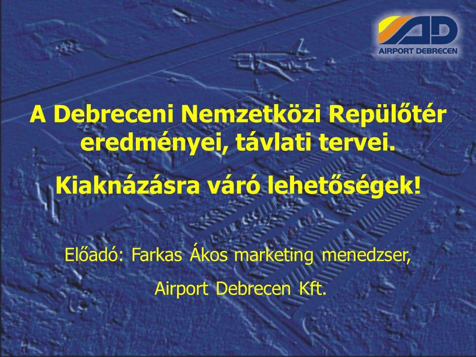 A Debreceni Nemzetközi Repülőtér eredményei, távlati tervei. Kiaknázásra váró lehetőségek! Előadó: Farkas Ákos marketing menedzser, Airport Debrecen K
