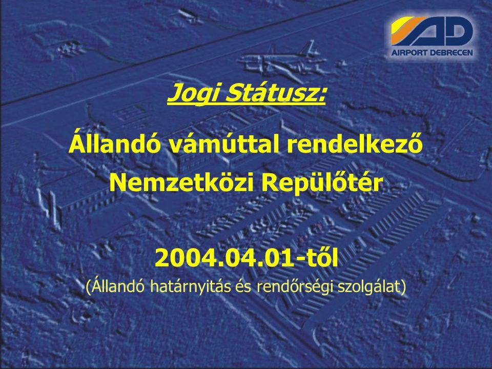 Jogi Státusz: Állandó vámúttal rendelkező Nemzetközi Repülőtér 2004.04.01-től (Állandó határnyitás és rendőrségi szolgálat)