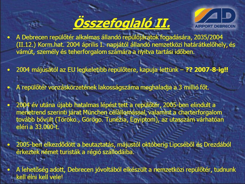 Összefoglaló II. A Debrecen repülőtér alkalmas állandó repülőjáratok fogadására, 2035/2004 (II.12.) Korm.hat. 2004 április 1. napjától állandó nemzetk