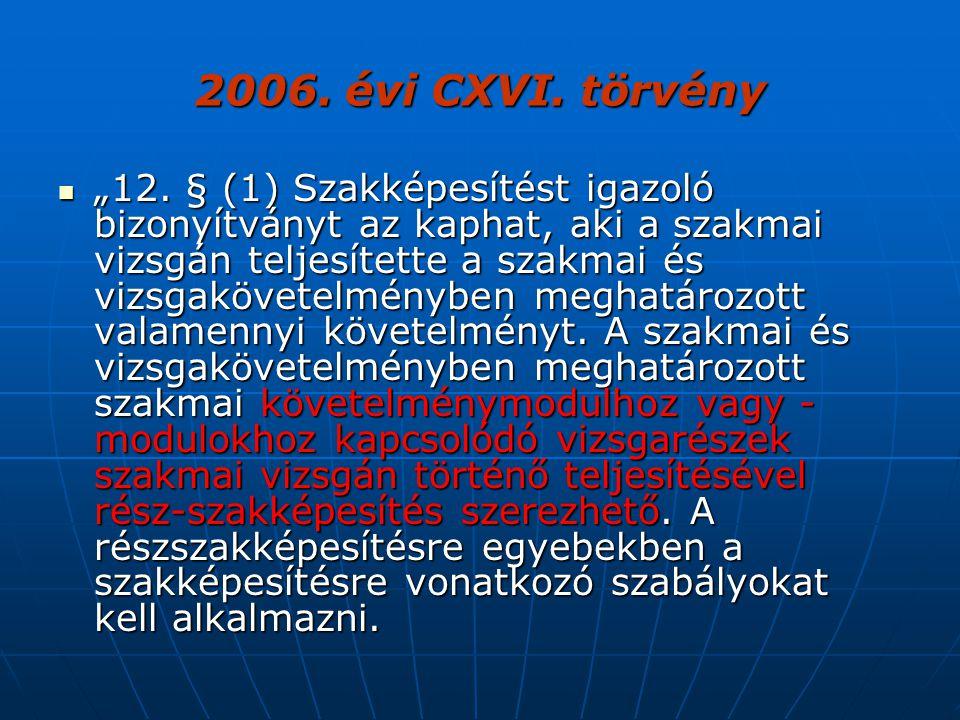 """2006. évi CXVI. törvény """"12. § (1) Szakképesítést igazoló bizonyítványt az kaphat, aki a szakmai vizsgán teljesítette a szakmai és vizsgakövetelménybe"""