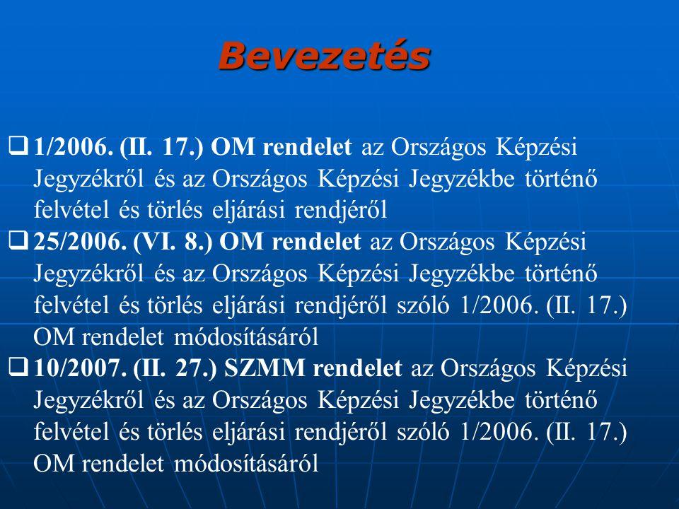  1/2006. (II. 17.) OM rendelet az Országos Képzési Jegyzékről és az Országos Képzési Jegyzékbe történő felvétel és törlés eljárási rendjéről  25/200