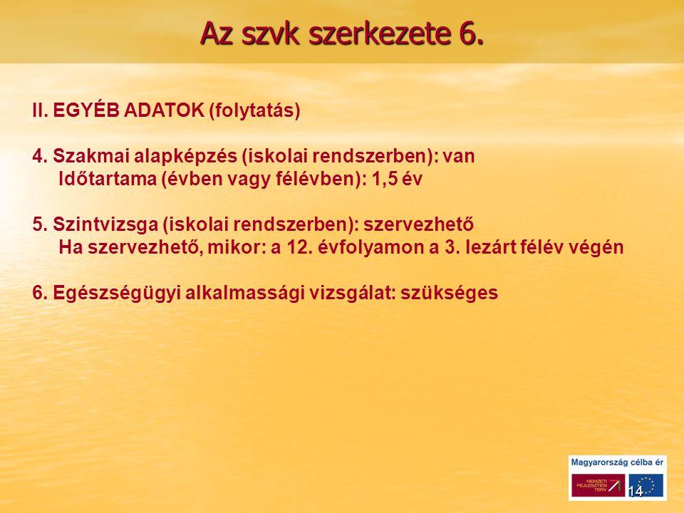 14 Az szvk szerkezete 6. II. EGYÉB ADATOK (folytatás) 4.