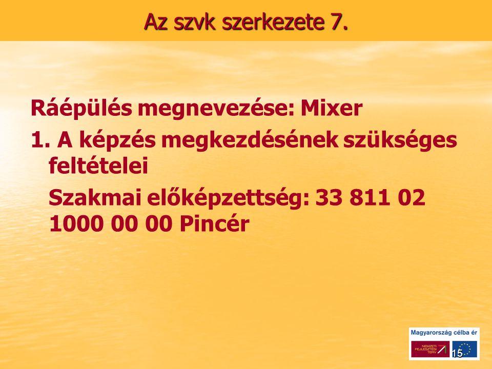 15 Az szvk szerkezete 7. Ráépülés megnevezése: Mixer 1.
