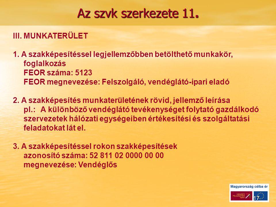 17 Az szvk szerkezete 11.III. MUNKATERÜLET 1.
