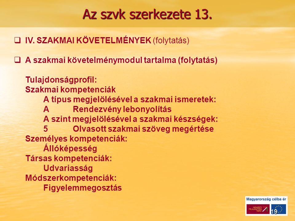 19 Az szvk szerkezete 13.   IV.