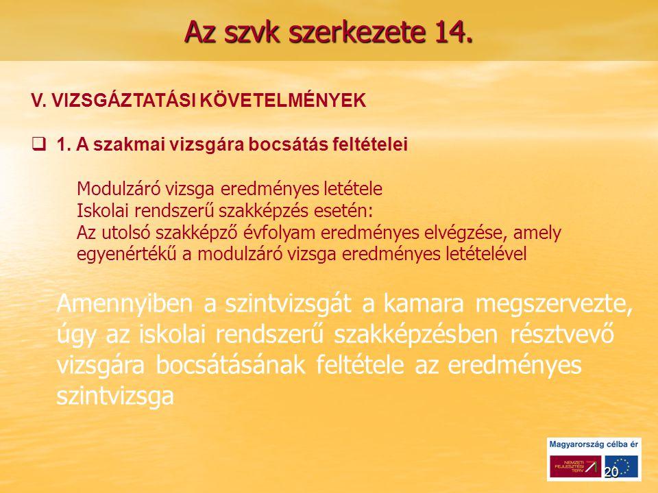 20 Az szvk szerkezete 14. V. VIZSGÁZTATÁSI KÖVETELMÉNYEK   1.