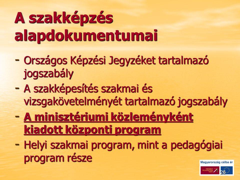 26 A szakképzés alapdokumentumai - Országos Képzési Jegyzéket tartalmazó jogszabály - A szakképesítés szakmai és vizsgakövetelményét tartalmazó jogszabály - A minisztériumi közleményként kiadott központi program - Helyi szakmai program, mint a pedagógiai program része