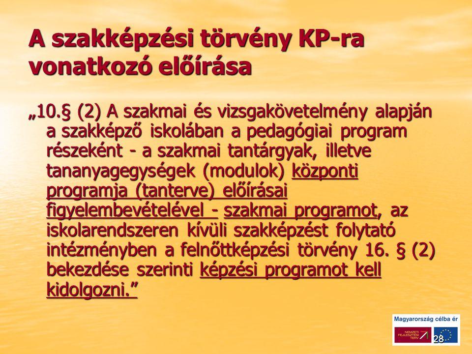 """28 A szakképzési törvény KP-ra vonatkozó előírása """"10.§ (2) A szakmai és vizsgakövetelmény alapján a szakképző iskolában a pedagógiai program részeként - a szakmai tantárgyak, illetve tananyagegységek (modulok) központi programja (tanterve) előírásai figyelembevételével - szakmai programot, az iskolarendszeren kívüli szakképzést folytató intézményben a felnőttképzési törvény 16."""
