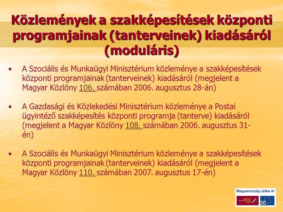 30 Közlemények a szakképesítések központi programjainak (tanterveinek) kiadásáról (moduláris) A Szociális és Munkaügyi Minisztérium közleménye a szakképesítések központi programjainak (tanterveinek) kiadásáról (megjelent a Magyar Közlöny 106.