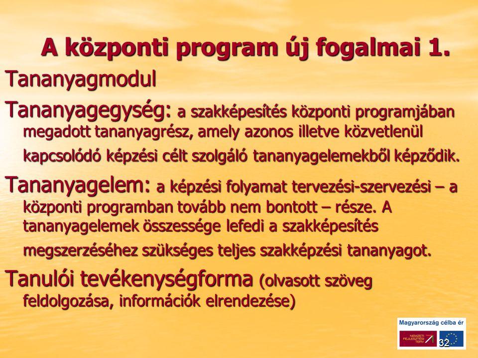 32 A központi program új fogalmai 1.