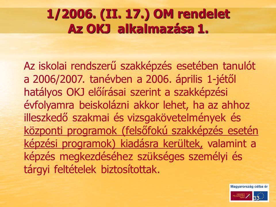 33 1/2006. (II. 17.) OM rendelet Az OKJ alkalmazása 1.