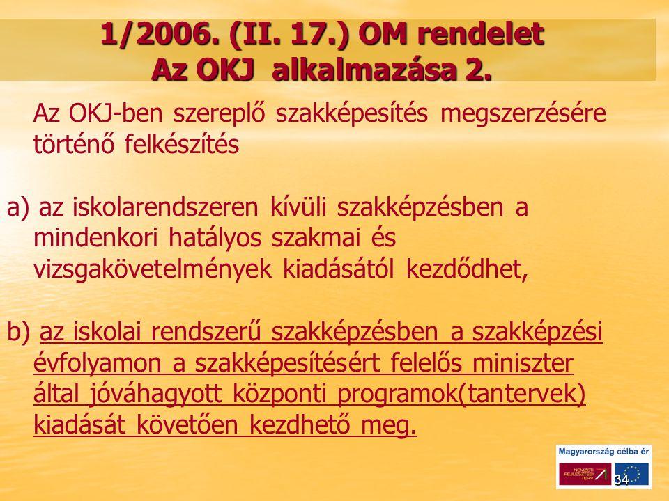 34 1/2006.(II. 17.) OM rendelet Az OKJ alkalmazása 2.