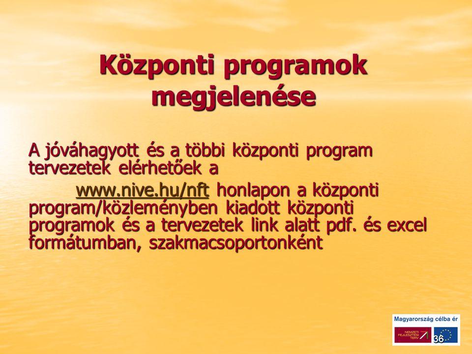 36 Központi programok megjelenése A jóváhagyott és a többi központi program tervezetek elérhetőek a www.nive.hu/nftwww.nive.hu/nft honlapon a központi program/közleményben kiadott központi programok és a tervezetek link alatt pdf.